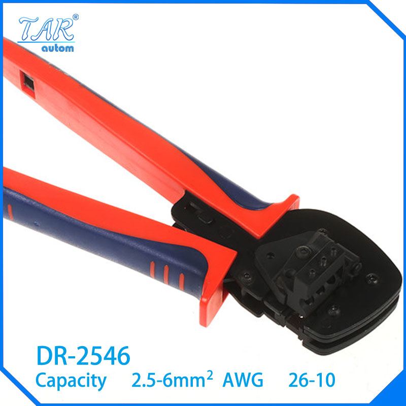 ФОТО 2.5-6mm2 Super Strength-Saving Crimping Pliers Ratchet Crimping Tool Insulated and Non-insulated cable end-sleeves DR-2546B