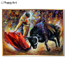 Customized Oil Painting Reproduction Bullfight Canvas Pictures 100% Hand Painted Bull Unframed Spain Landscape
