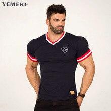 YEMEKE Slim Fit Tees Men Patchwork T-Shirts Compression Shir