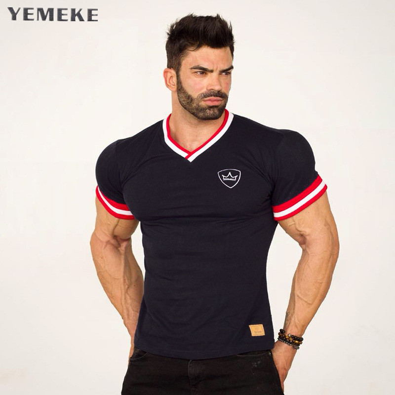YEMEKE Slim Fit Tees Men Patchwork   T  -  Shirts   Compression   Shirt   Tops Bodybuilding Fitness O-Neck Short Sleeve   T     Shirt