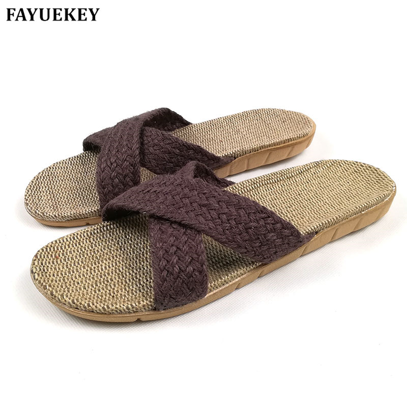 FAYUEKEY Fashion Summer Home Linen Non-slip Breathable Slippers Men Cross Belt Indoor\Floor Beach Boys Open-Toed Slippers Shoes coolsa women s summer flat cross belt linen slippers breathable indoor slippers women s multi colors non slip beach flip flops
