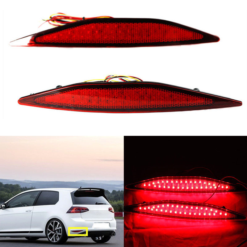 2x New Multi-LED Rear Bumper Reflector Stop Brake Fog Light Turn Signal Night Driving Tail Lights For Volkswagen VW Golf 7 novline autofamily renault sandero sandero stepway 2014