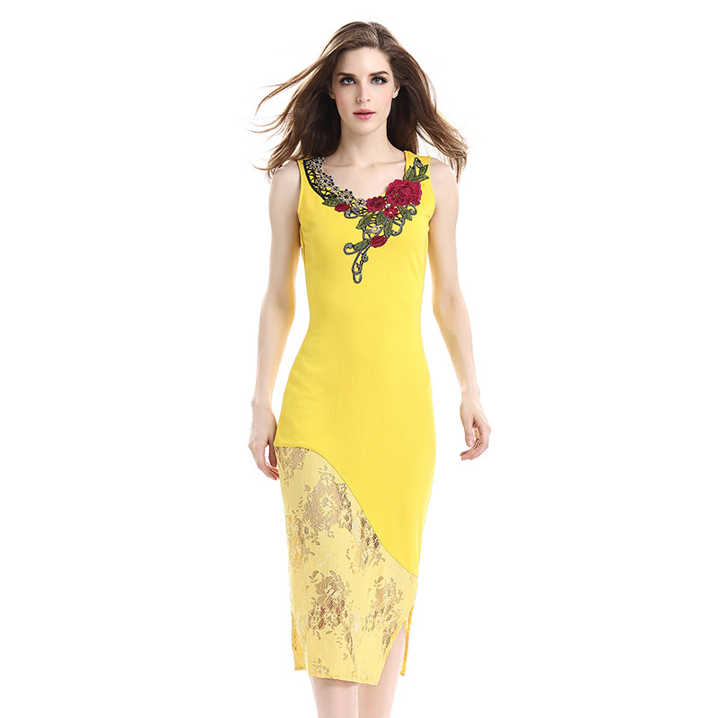 Orange Dess Summer Women See through Embroidery Lace Flowers Patchwork Midi Sexy Bodycon Dresses Night Party Plus size Clothes