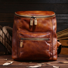 Mens girl's unisex fashion genuine cowhide leather backpack shoulders bag bookbags satchel new brown color 0075/D-1088