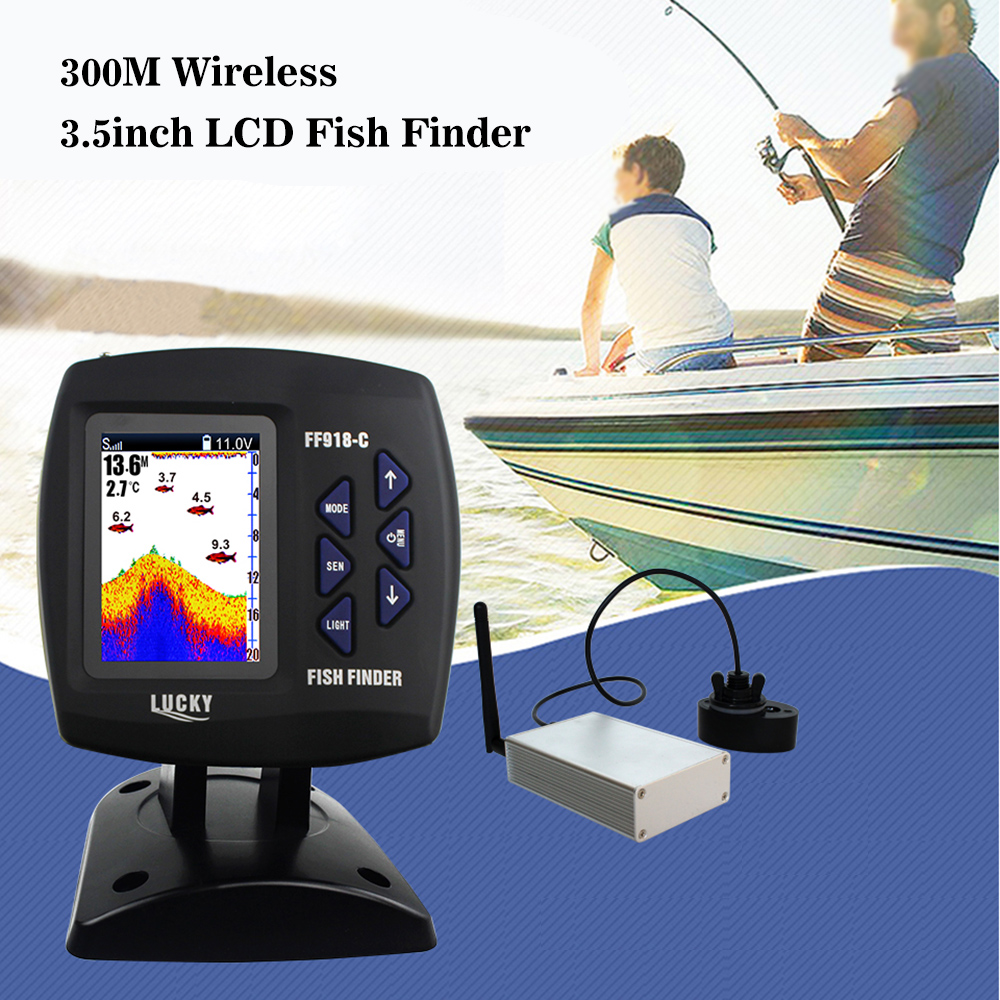 Lucky Wireless Boating Fish Finder 300m/980ft Operating Range Fishing Remote Control Fishfinder Russian & English Menu FF918-C