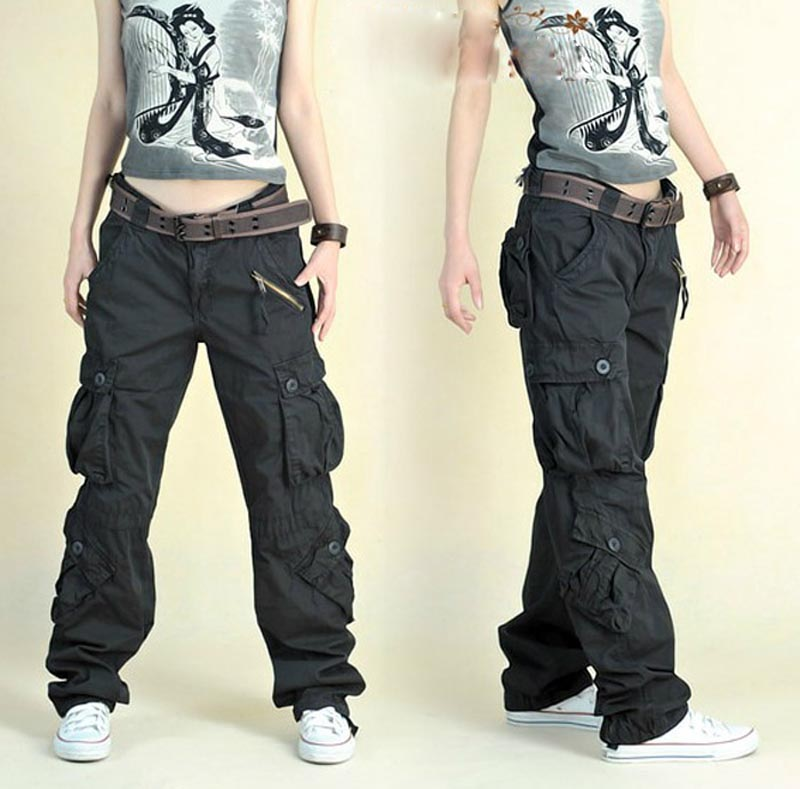 Free Shipping 2019 New Arrival Fashion Hip Hop Loose <font><b>Pants</b></font> Jeans <font><b>Baggy</b></font> Cargo <font><b>Pants</b></font> For <font><b>Women</b></font> image