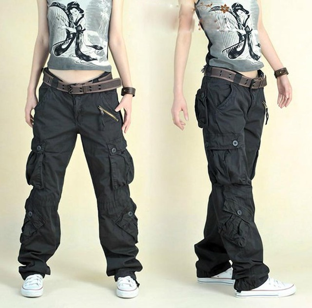 Free Shipping 2020 New Arrival Fashion Hip Hop Loose Pants Jeans Baggy Cargo Pants For Women 1