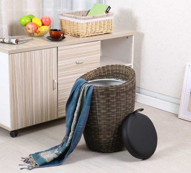Merveilleux Household Children Stool Villa Home PU Rattan Knitting Chair Storage Stool  Free Shipping