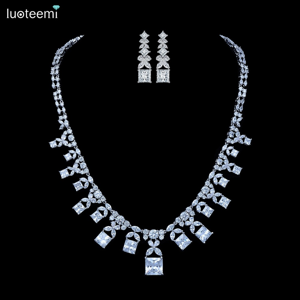 LUOTEEMI 2016 Fashion New Luxury Vintage Necklace  Dangle Earring Set White Gold Plated  For Women Wedding Bridal Jewelry Brinco