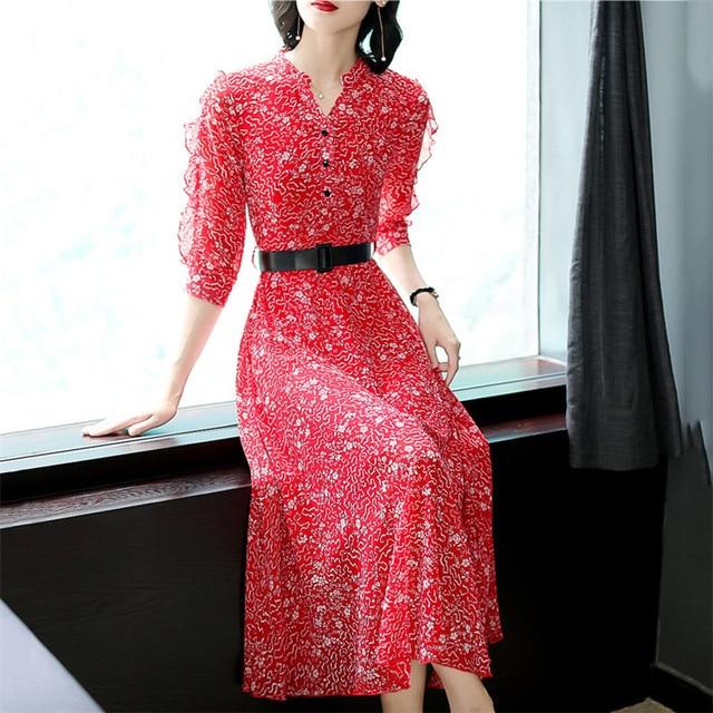 ed0e1522f7 Autumn Dress Women 2019 New Spring Red Black Floral Print M 3XL Plus Size  Korean V Neck Slim Belt Chiffon Dresses Vestidos LR157