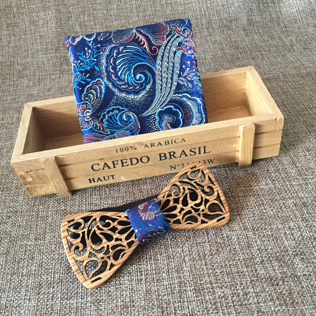 New Design Hollow Male Wedding Wooden Bowties Wiht Blue Pocket Square For Men For Christmas