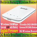 [ Eng - прошивки ] Tenda 3G186R портативный 150 м путешествия 3 г wi-fi модем-маршрутизатор SIM карт памяти для WCDMA сети батарейках