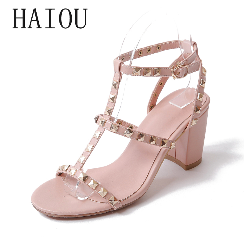 2017  Fashion Summer Brand New Plus Size Women Pumps Sexy Party Bride Rivets Shoes Ladies High Heels Sandals Pink Black Big Size 2016 summer high heels16cm sexy waterproof 4cm party women s shoes plus size factory outlet real picture