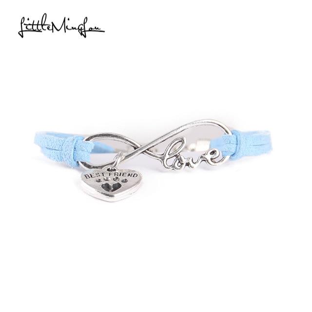 Infinity love dog cat pet paw footprint best friend bracelet heart charm men wrap bracelets & bangles for women jewelry 1
