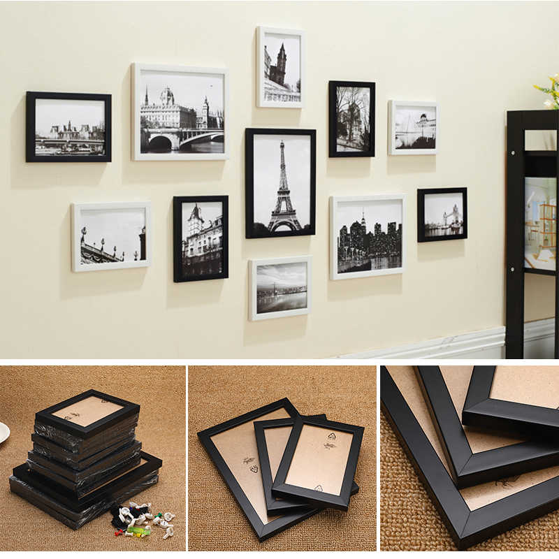 11Pcs/Set Modern Family Picture Display Wall Hanging Photo Frame Set Art Home Decor Bedroom Living Room Hallway Wall Decoration