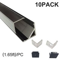 Black 0.5M Led Aluminium Profile for Led bar light V Type Corner Mount with Clear Cover End Caps Mounting Clips