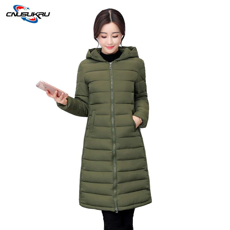 Fashion Ladies Coats Army Green 2017 Winter Coat Women Parka Long outwear Thick Warm Cotton Jacket Women Jackets And Coats Black