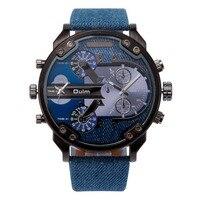 OULM повседневное Военная Униформа кварцевые часы для мужчин 2 Часовой пояс Мода морской холст ремень Chic Boyfriend DZ наручные часы Relogio Masculino
