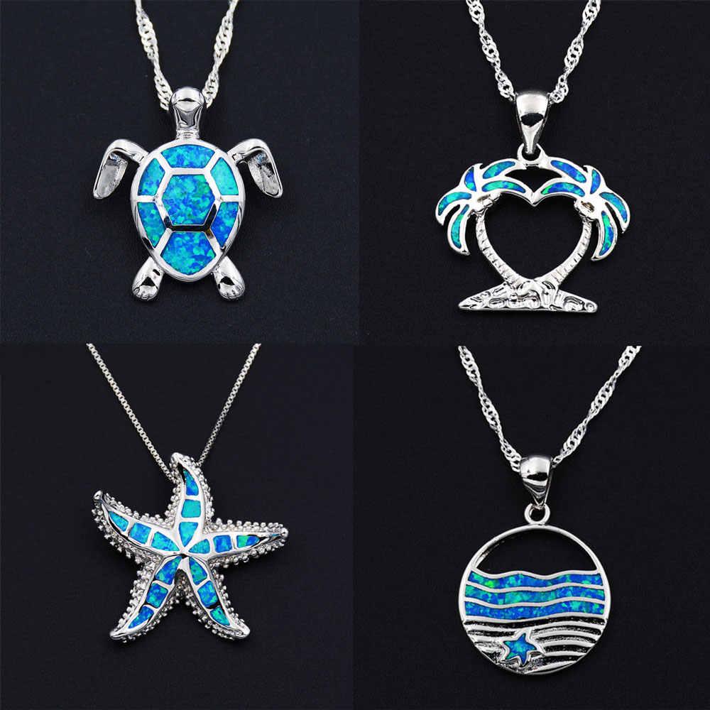 Морской Синий огненный опал пляжная тематика кулон ожерелье с морской черепахи пальмовое дерево КИТ хвост Морская звезда