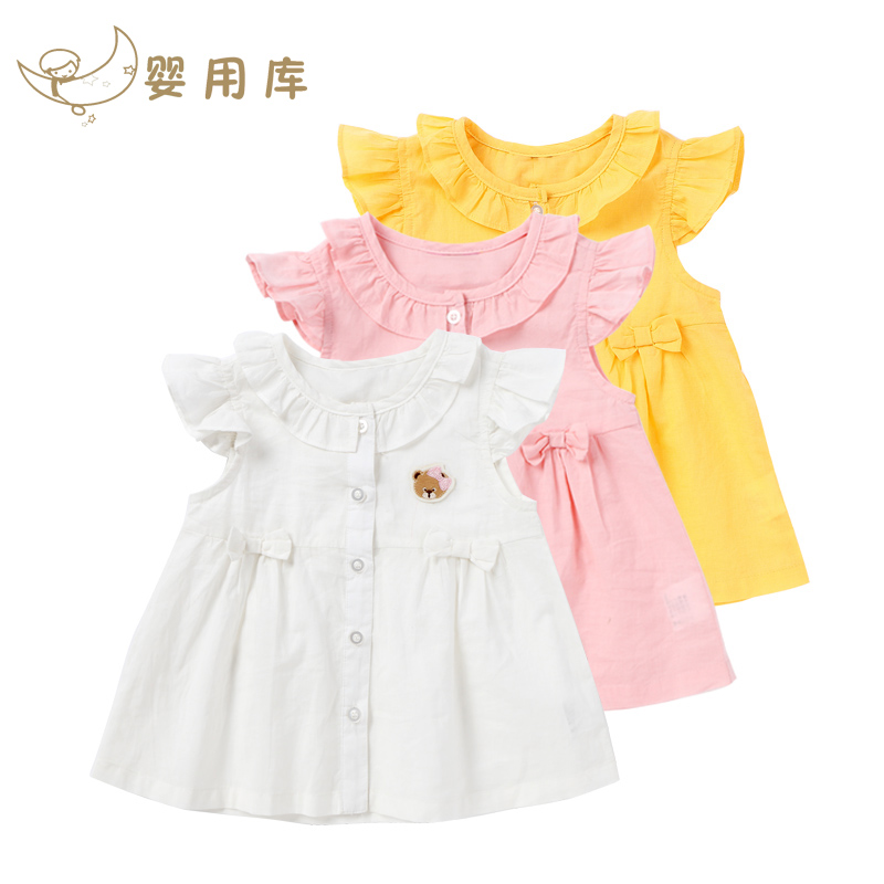 Girls dress 0 1 2years baby frock designs cotton clothing dress