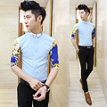 Verão masculino de três quartos camisa de manga magro adolescente camisas de manga curta camisa masculina