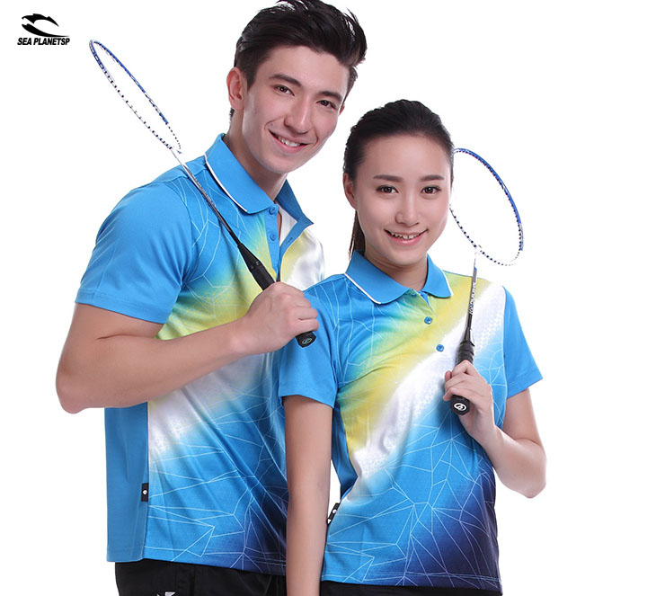 plus2foot Store SEA PLANETSP Sportswear sweat Quick Dry breathable badminton shirt , Women / Men table tennis clothes team game blue T Shirts