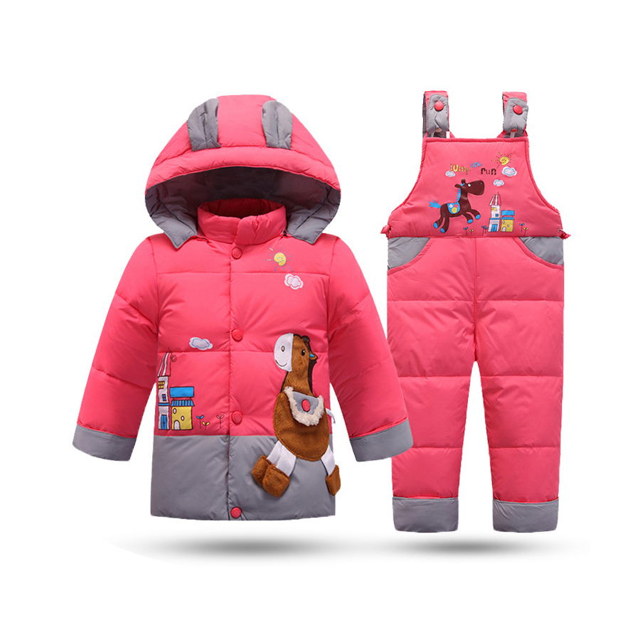 Down Jacket For Girls Baby Snowsuit Winter Overalls For Baby Boys Warm Jackets Toddler Outerwear Baby Suits Coat + Pant Set kids ski suits snow suits for girls children boys snowsuit down cotton jacket winter overalls child winter thicken clothing