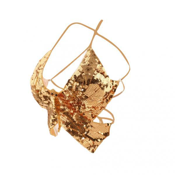 Phenovo Belly Dance Butterfly Top Bra  Dancing Costume Stunning Gold