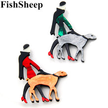 FishSheep Ladies Acrylic Brooch Icon Fashion Cute Women And Dog Character Pins And Brooches For Women Badges New Year Gifts fishsheep large women figure acrylic brooches and pins fashion resin girl icon big brooch pins female fashion jewelry accessory