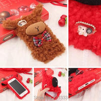 Овец ухо волосы мех Алмаз Мягкие TPU чехол для iPhone 7 Plus I7 6 6 S SE 5S Samsung Galaxy S7 край S8 Носки с рисунком медведя из мультика кожного покрова 1 шт.
