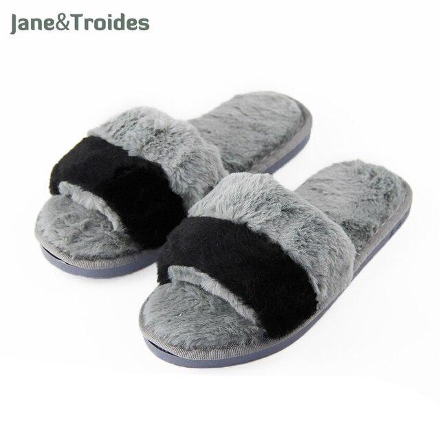 8ea1ec18d48c Home Fluffy Women Slippers Open Toe Patchwork Anti Slip Flip Flops Plush  Soft Warm Sandals Thicken Fleece Fashion Woman Shoes