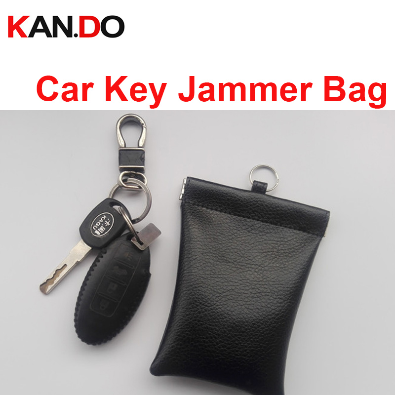 Soft Leather Car Key Sensor Jammer Bag Card Anti-Scan Sleeve Bag Signal Blocker Protection Jammer Remote Car Key Jammer Bag