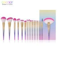 Docolor 17PCS Brushes for Makeup Professional Foundation Powder Eye Shadow Contour Fan Brushes Set Synthetic Hair Make Up Brush