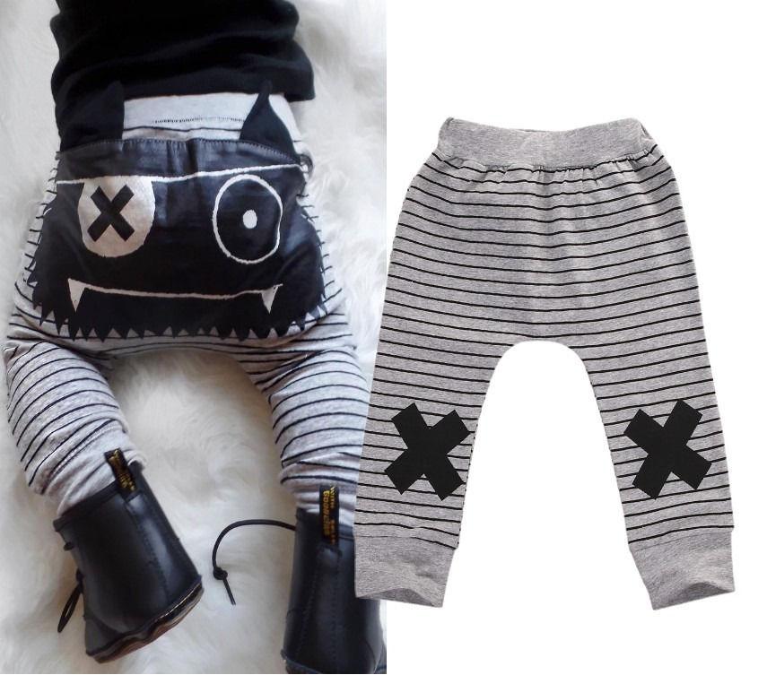 Newborn Baby Boys Girls Bottoms Monster Striped Harem Pants Leggings Trousers