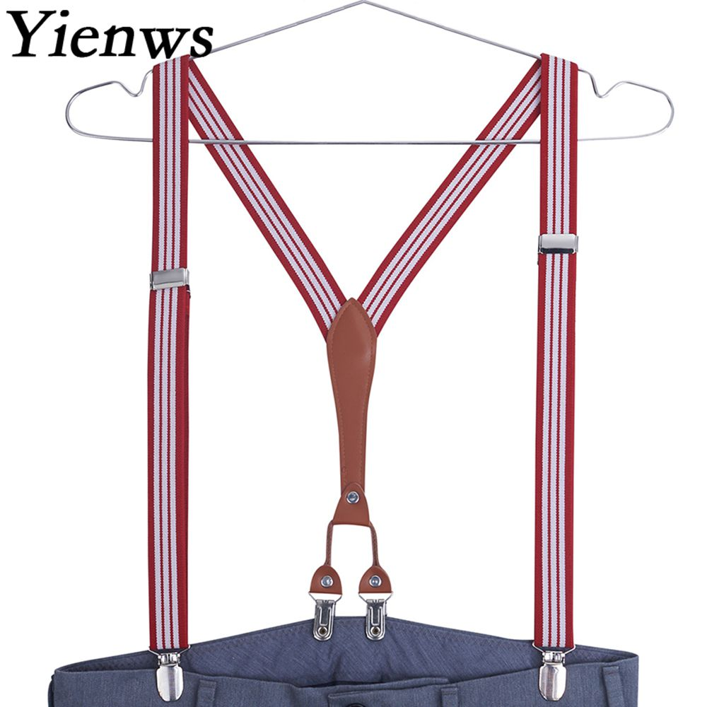 Yienws Suspensorio White Striped Suspenders For Women Leisure Pant Button Brace Female Bretelles Hommes 115CM YiA033
