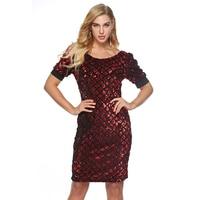 Wholesale Spot Women's Sequin dress Round neck Puff sleeve Slim fit Party dresses Autumn Female Office Knee Casual Hip dress
