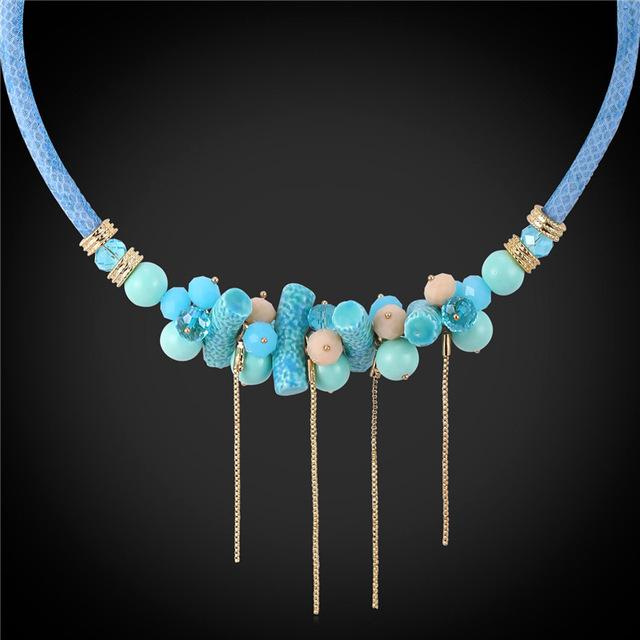 Maxi bohemio de Las Mujeres Collar de Regalo de La Joyería 3 Opciones de Color de Tamaño Variable de Alta Calidad De Cerámica de Cristal Collar de Lujo Torques N1748