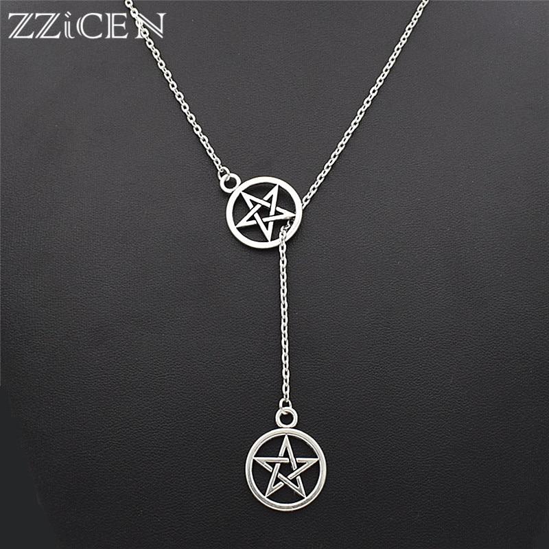 Silver Necklace Lariat Pentagram Necklace Wicca Necklace PENTAGRAM INFINITY Y Necklace Pendant Pagan Necklace