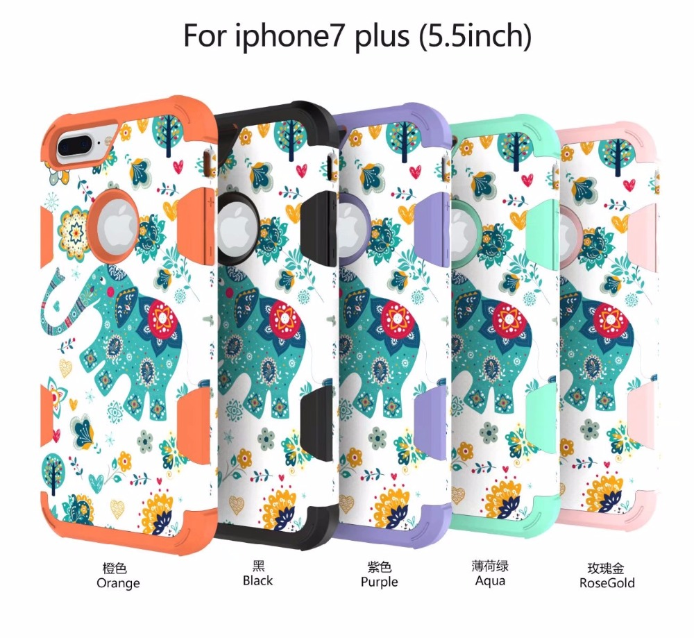 Hit color Water to stick elephants pattern 3 in 1 Heavy Duty Protection Silicagel+PC phone caes FOR iphone 8 8plus 7 7plus