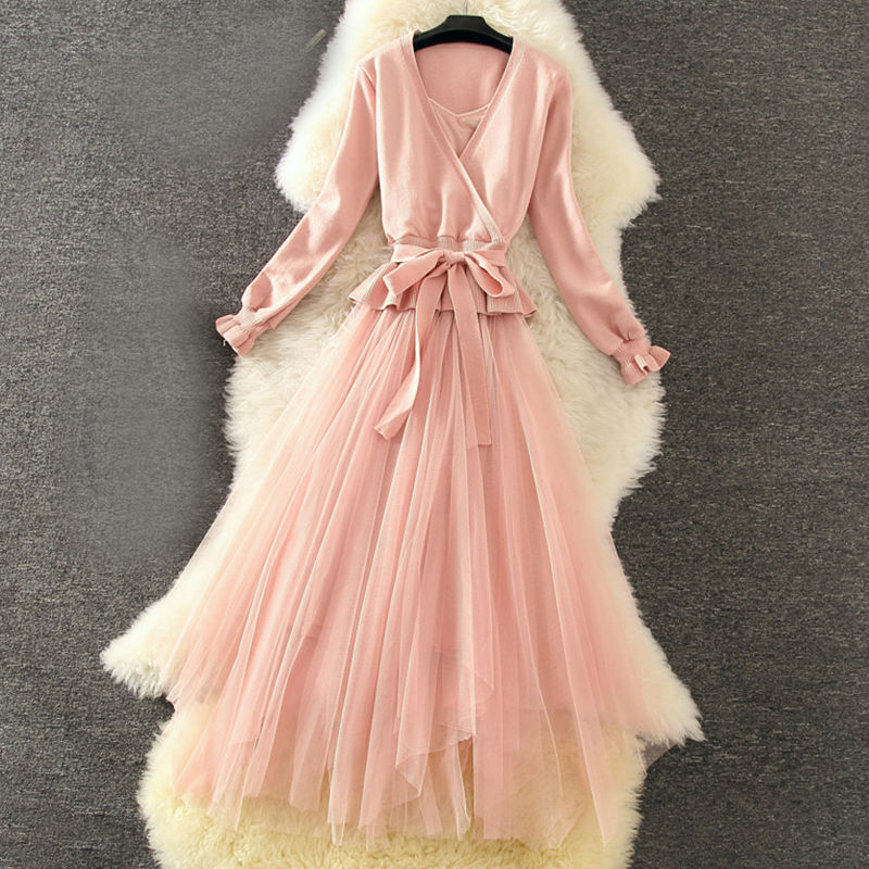 Autumn Graceful Sweater Dress 2pcs Sets V Collar Long Sleeve Sashes