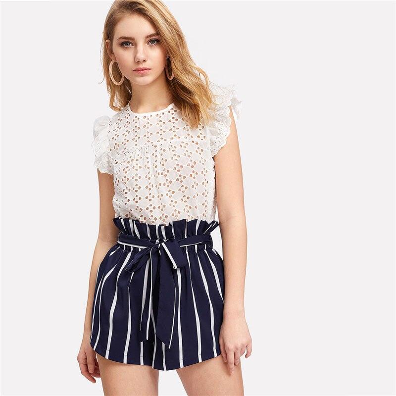 HTB1SeaFovDH8KJjy1Xcq6ApdXXah - Belted Ruffle Waist Striped Shorts Women PTC 342