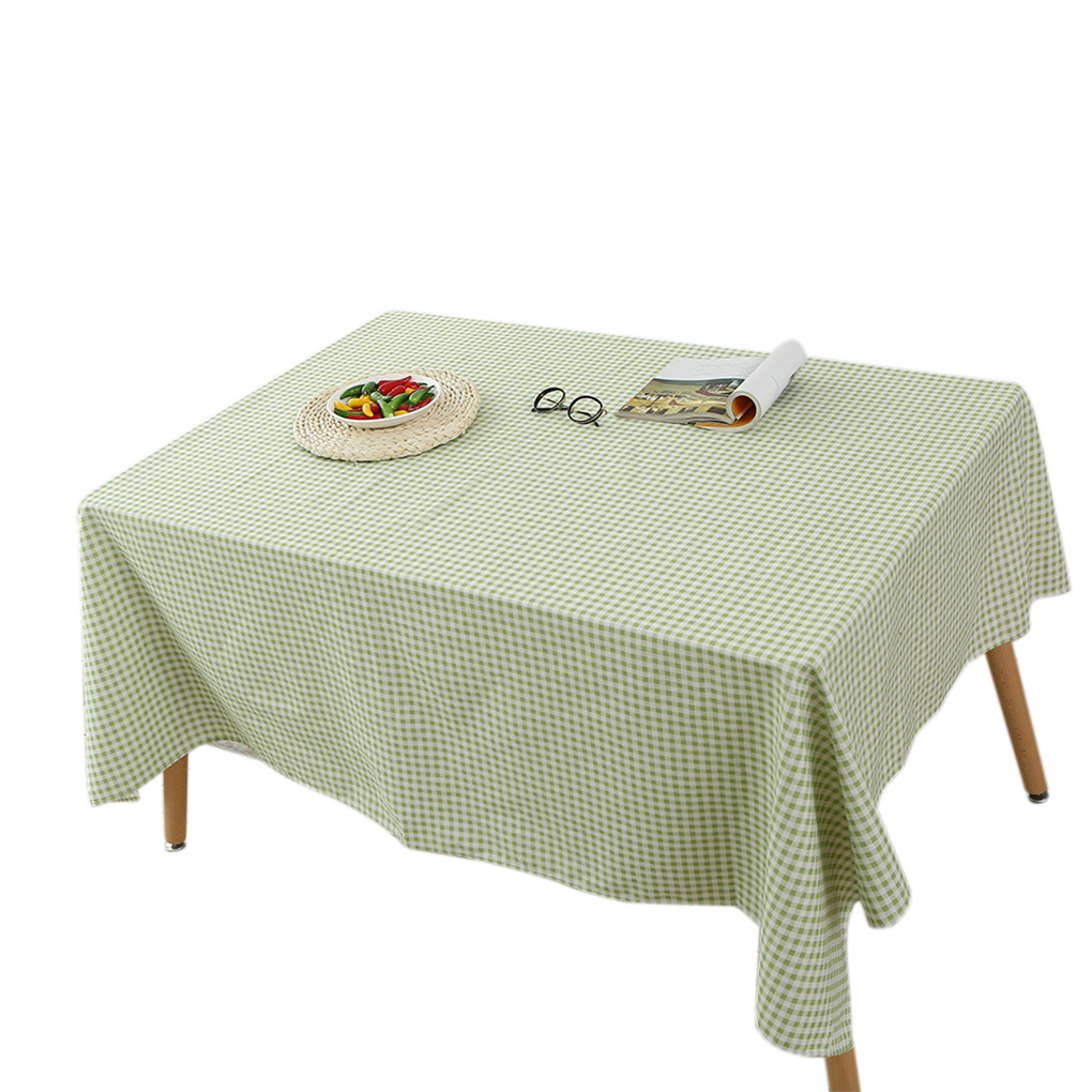 Green Plaid Tablecloth Cotton Linen Square Rectangle Table Cloth Cover 140x140cm/120x160cm