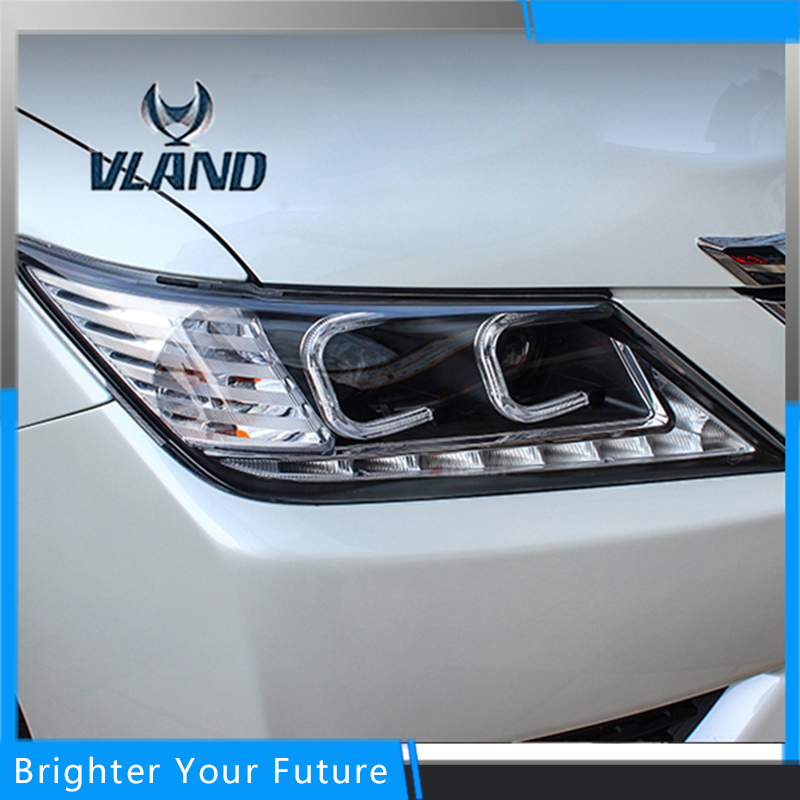 Vland Car Styling for Toyota Camry Headlights 2012-2014  LED Headlights DRL Projector Headlights Angel Eyes us version  car styling 2012 2014 camry