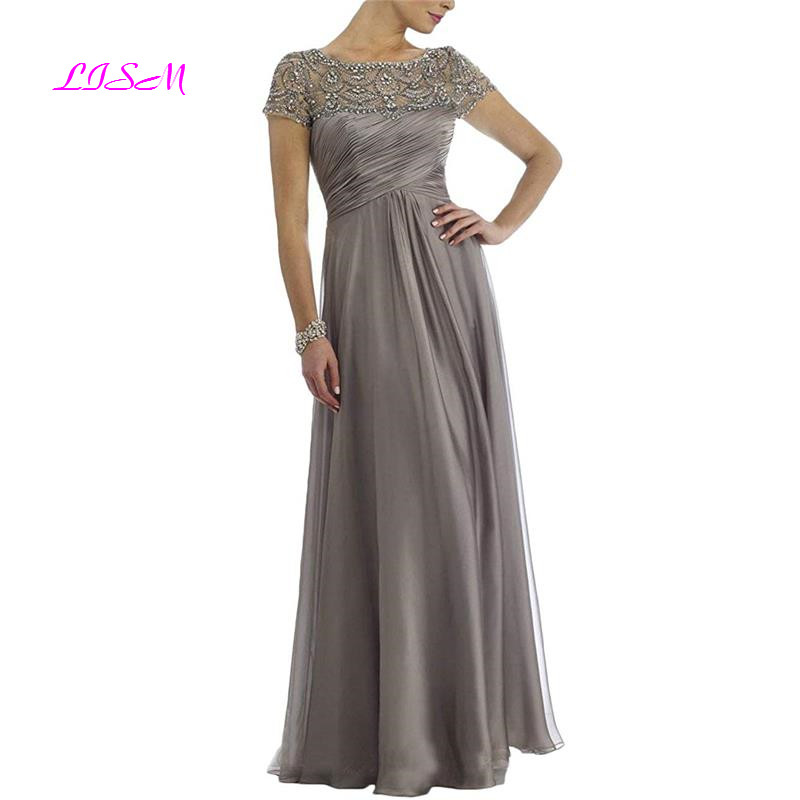Chiffon Mother Of The Bride Dresses Long Pleated With Rhinestones Short Sleeve Party Dress Elegant Evening Gowns