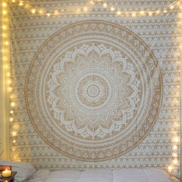 CAMMITEVER Large Mandala Indian Tapestry Wall Hanging Bohemian Beach Towel Polyester Thin Blanket Yoga Shawl Mat 210x150cm