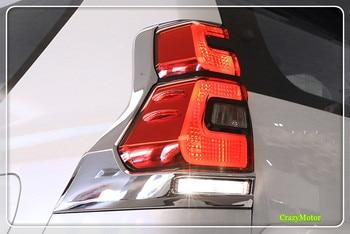 for Toyota Prado FJ150 2018 Exterior Auto accessories Car styling ABS Chrome Rear Light Lamp Sticker Decorative Cover 2*