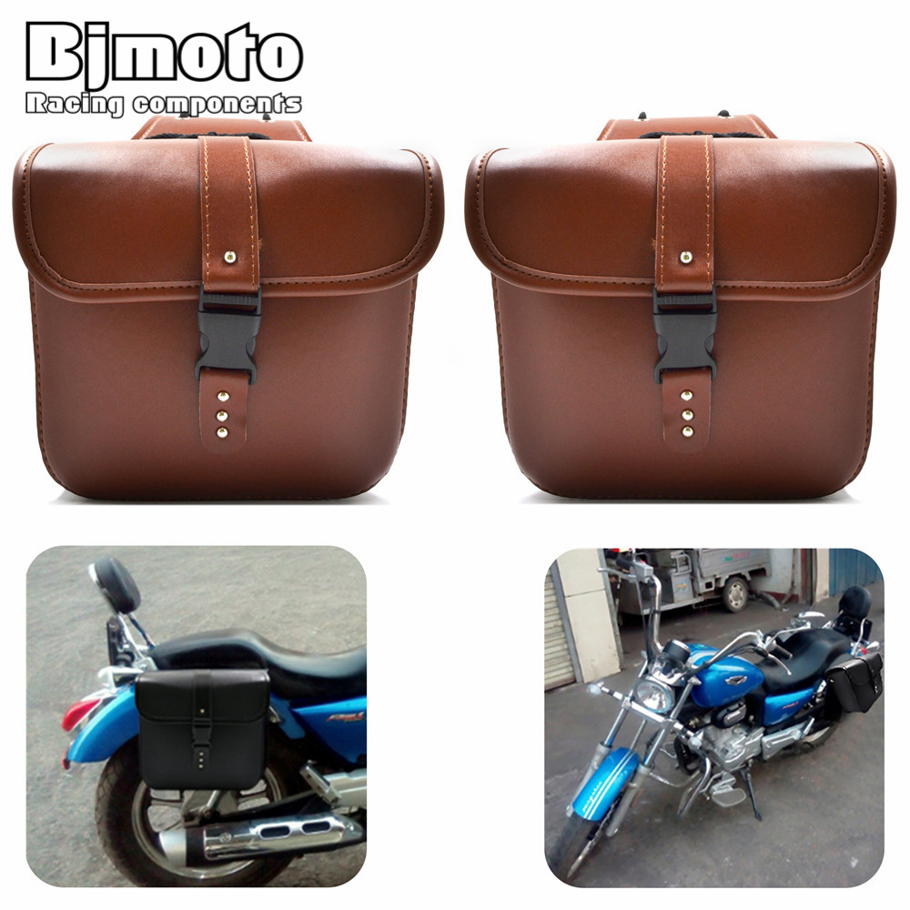 BJMOTO 2 x Motorcycle Saddle Side Bags PU Leather Motor Luggage Bag Chopper Bike Tool Bags for Harley Sportster XL883 XL1200