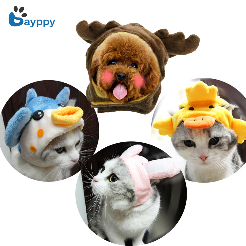 Funny Pet Cat Costume Cute Cartoon Puppy Cat Cap Hat Rabbit Ear Design Pet Cats Wig Party Cosplay Costume Accessory Kitten Teddy ...