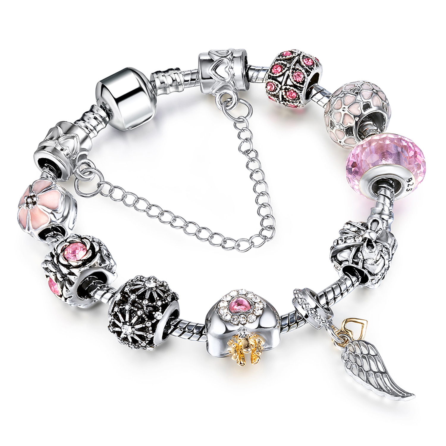 pink crystal large beads bracelet accessories silver charm. Black Bedroom Furniture Sets. Home Design Ideas