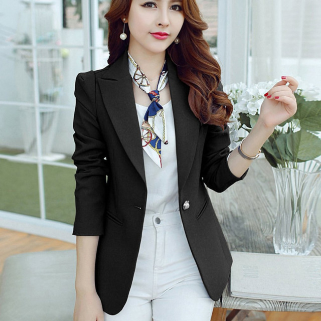 women s jacket Ladies Blazer Sleeve Long Business Office Suit Jackets  Female Navy Blue Slim Fit Blaser Women Blazer Femme 2018 687e4c6668